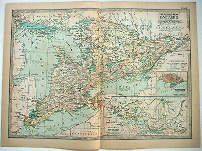 Original 1897 Map of Ontario, Canada by The Century Company. Antique.