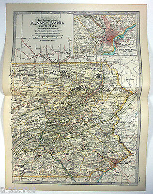 Original 1902 Map of Eastern Pennsylvania by The Century Company. Antique