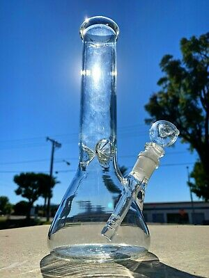 Hookah Water Pipe Heavy Glass 10 inch Tobacco Beaker Base Bong w/ ICE catcher