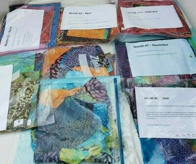 Monthly Month Quilt LOT Fabric Craft Pieces Colorful Blocks The Curiosity Shop