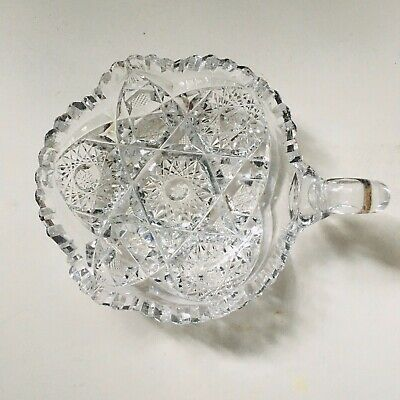 Vintage Lead Crystal Cut Glass Candy/Serving Dish W/Handle Saw tooth edge