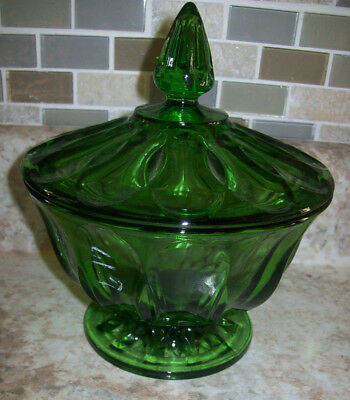 Vintage Green Depression Glass Lidded Candy Dish Footed Pedestal Compote