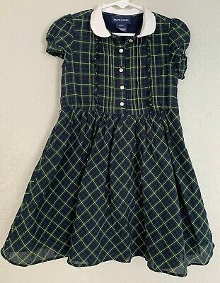 Polo Ralph Lauren Girl's Plaid Colllared Dress Size 4T Lined Cotton Navy & Green