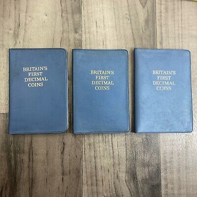 Authentic Vintage Job lot Britains First  Decimal Coin Set In Wallet X 3 Sets