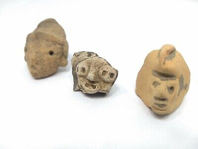Pre Columbian Artifact Lot - Head & Face Fragment - 3 Specimens