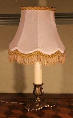 VINTAGE French Rococo Gilt Brass Bronze Table Lamp Light & Shade Boudoir Chic !!