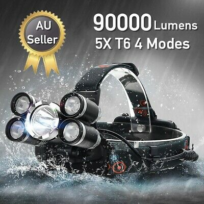 1-4X 90000LM T6 LED Headlamp Headlight Rechargeable Torch Flashlight Lamp 4 Mode