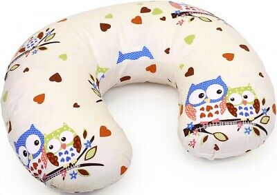 Feeding Pillow Baby Breast Pregnancy Maternity + Removable Cover Owls Cream