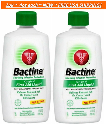 2pk Bactine Original First Aid Liquid Pain & Itch Relief with No Sting! 4oz each