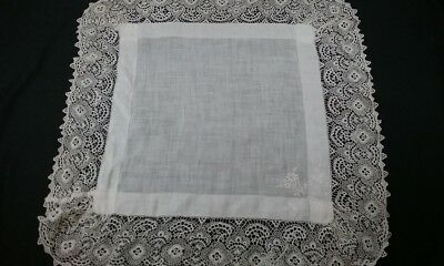 Antique Edwardian Pillow Sham White Embroidered Layover