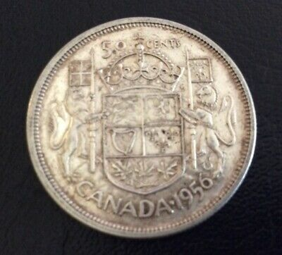 The Canada Silver 50 Cents 1956 Coin.# 28.