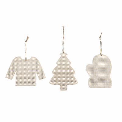Christmas Decorations wood blanks with cross stitch centre, tree, jumper, mitten