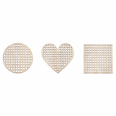 Decorations wood blanks with cross stitch centre, circle, heart, square