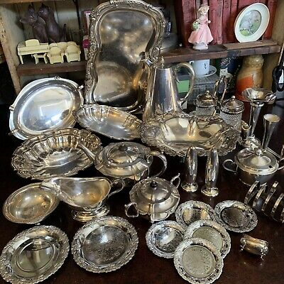 Huge Bulk Lot Of Vintage Antique Silver Plated Items Trays Bowls Serving Pieces