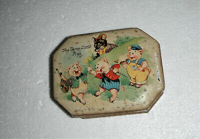 Antique Three Little Pigs Tin - Vintage Collectable Tin 1930's