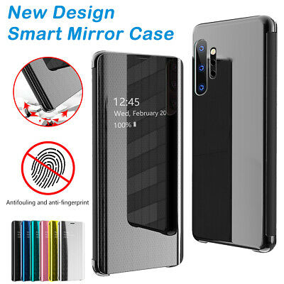 Smart Mirror Clear View Flip Leather Case For Samsung Galaxy Note10 Plus Note8 9