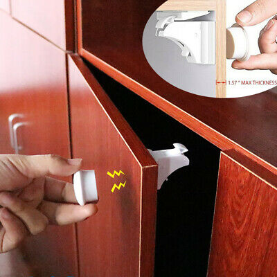 10PCS Magnetic Cabinet Locks Baby Safety Invisible Child Proof Cupboard Drawer