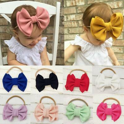 Nylon Baby Toddler Girls Big Bow Knot Headband Hairband Stretch Turban Head Wrap