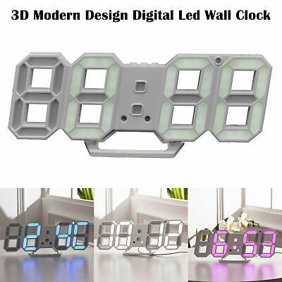 Digita LED Digit Large 3D Table Wall Clock Dimmer Alarm Snooze Home Decor UK