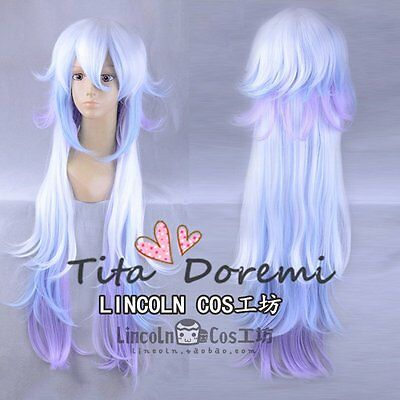 Halloween Wig Cosplay FGO fate grand order Merlin Long blue mix Hair