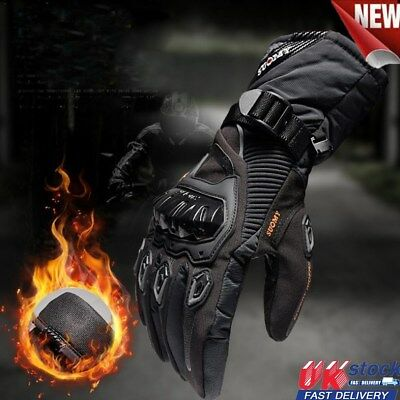 Winter Motorbike Motorcycle Leather Gloves Uk Thermal Waterproof Carbon Knuckle