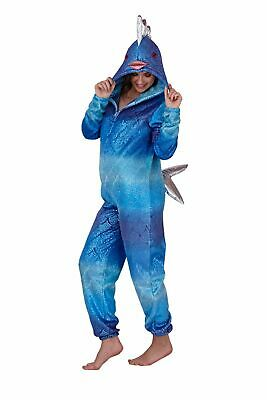 Womens Shimmer Fish 1Onesie All In One Hooded Fleece Novelty Jumpsuit Onezee