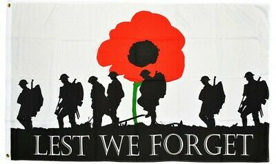 5ft x 3ft Lest We Forget War Heroes Remembrance Sunday VJ Day Poppy Flags 100D