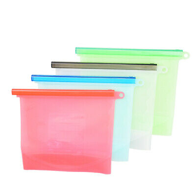 4pcs Reusable Food Storage Silicone Bags LeakProof Fresh Ziplock Produce Bags