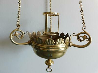 Huge Antique Brass Hanging Catholic? Church Memorial Candle Holder 1909 Gothic