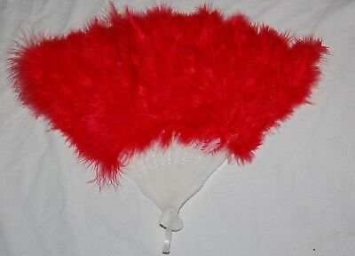 Vintage Faux Fur Red Hand Fan White Plastic 13""