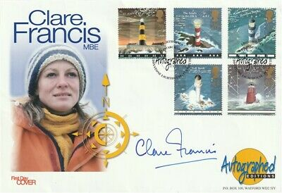 24 March 1998 Lighthouses Fdc Hand Signed By Yachtswoman Clare Francis Shs