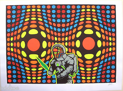 SPACED- Original S/N 2004 Art Print Poster by Lindsey Kuhn, astronaut, polkadots