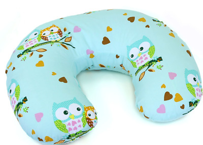 Feeding Pillow Baby Breast Pregnancy Maternity + Removable Cover Owls Turquiose