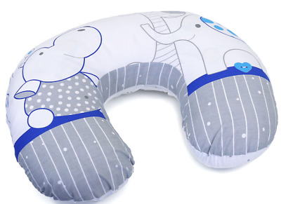 Feeding Pillow Baby Breast Pregnancy Maternity + Removable Cover Zoo Blue