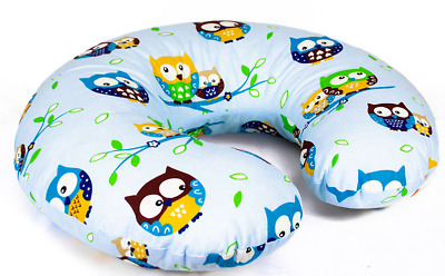 Feeding Pillow Baby Breast Pregnancy Maternity + Removable Cover Owls Blue