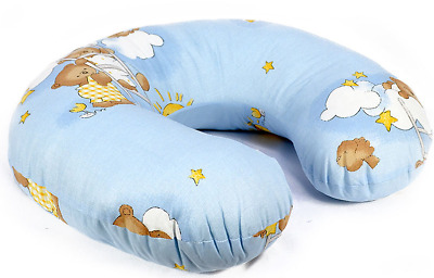 Feeding Pillow Baby Breast Pregnancy Maternity + Removable Cover Ladder Blue