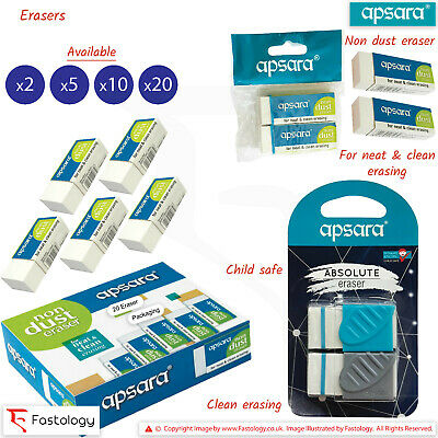 APSARA Non-Dust Quality Soft Rubber Pencil Erasers Neat Clean Erasing Easy Grip