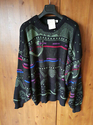 RRP £38 URBAN OUTFITTERS RENEWAL VINTAGE JUMPER MENS Blue Patterned 2XL - 3XL