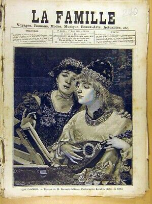 Original Old Antique Print Painting French Fine Art Une Chanson Cattaneo