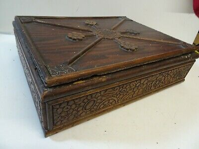 Antique Carved Oak Bible Box ? / Stationery Box?