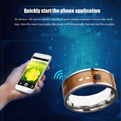 Silver NTAG213 NFC Tag Finger Ring Multifunctional Intelligent Ring Titanium