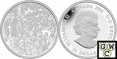 2014 'Canadian Contemporary Art' Proof $30 Silver Coin 2oz .9999 Fine(13841)(NT)