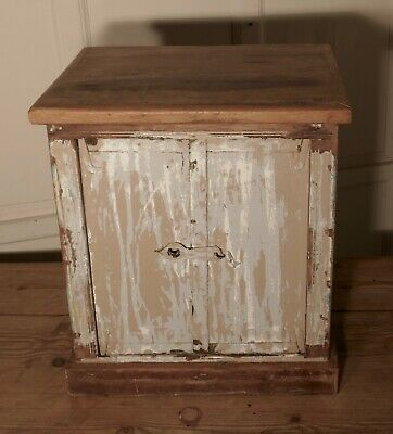 Primitive French Rustic 2 Door Cupboard with Distressed Worn Paint