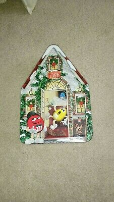 """M/&M Candy Christmas Gingerbread House Inn Canister Metal Large 12/"""" x 8/"""" Tin"""