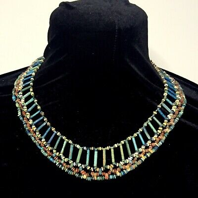 Ancient Fiance Bead Necklace Pectoral New Kingdom