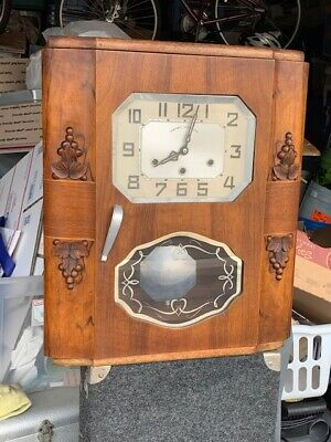 1930s FRENCH VERITABLE WESTMINSTER ART DECO CHIMING WALL CLOCK
