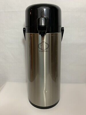 2.2 Liter Portable Coffee Carafe Pump Style Airpot Stainless Black Push Button