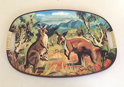 Vintage Serving Tray - Kangaroos Signed Eve Roy Australiana Collectable