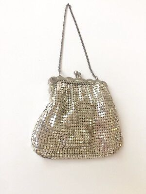 Vintage Silver Glomesh Coin Purse - Evening Bag- 1960's