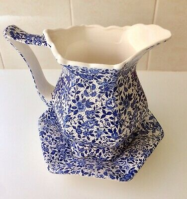 Vintage Blue And White Jug And Wash Bowl - Floral Chintz - Japan - 1940s - Large